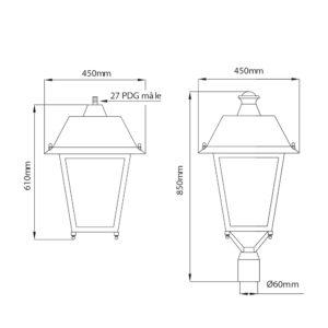 Fontes de Paris - Luminaires rétros - Borgo - CAD